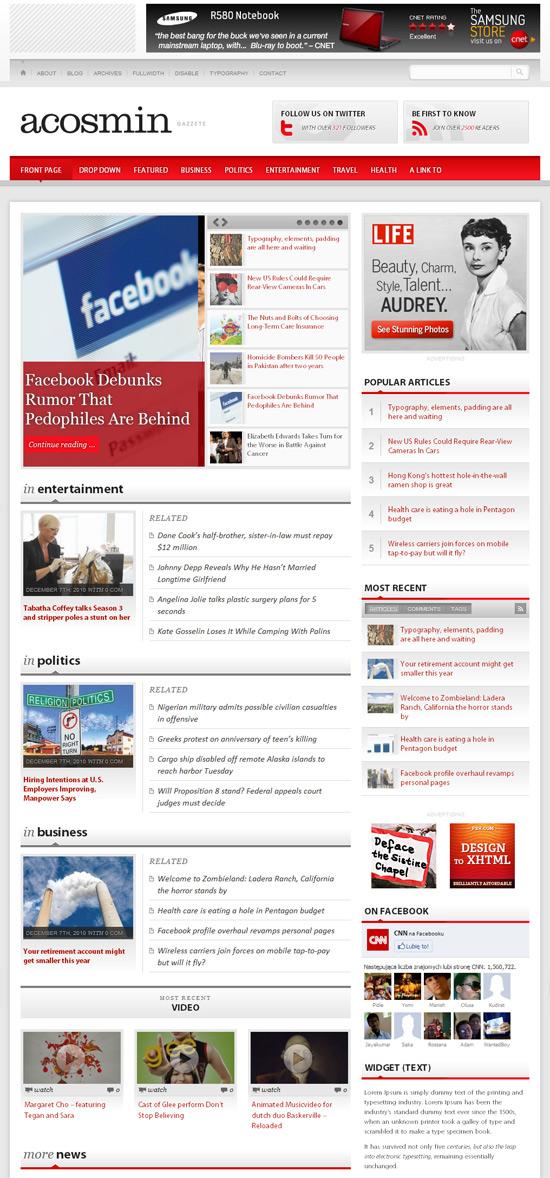 Acosmin Gazzete szablon na portal informacyjny